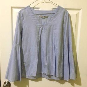 Blue Stripe Poplin V Neck Bell Sleeve Top Blouse